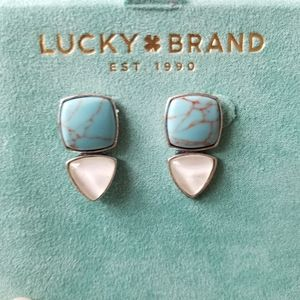 Lucky brand square triangle turquoise earrings